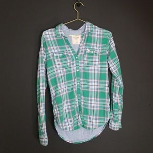 Abercrombie & Finch flannel pink green size xs